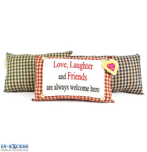 "Novelty ""Love, Laughter & Friends Are Welcome"" Cushion 38 x 23cm Blue, Green or Red"