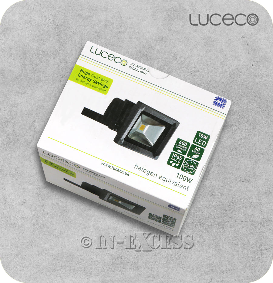 Luceco Guardian LED Tilting Black Floodlight 5000k Cool White - 10W>100W