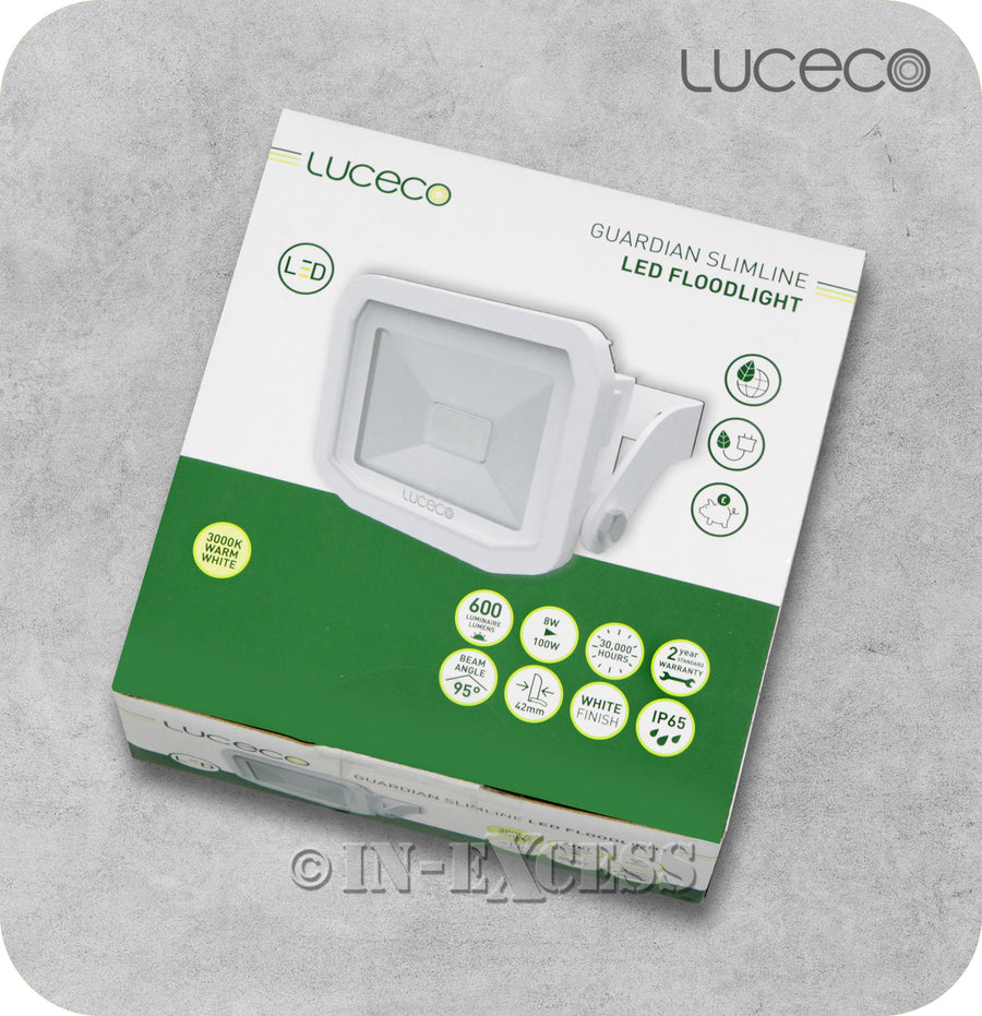 Luceco Guardian Slimline LED Tilting White Floodlight 3000k Warm White - 8W>100W