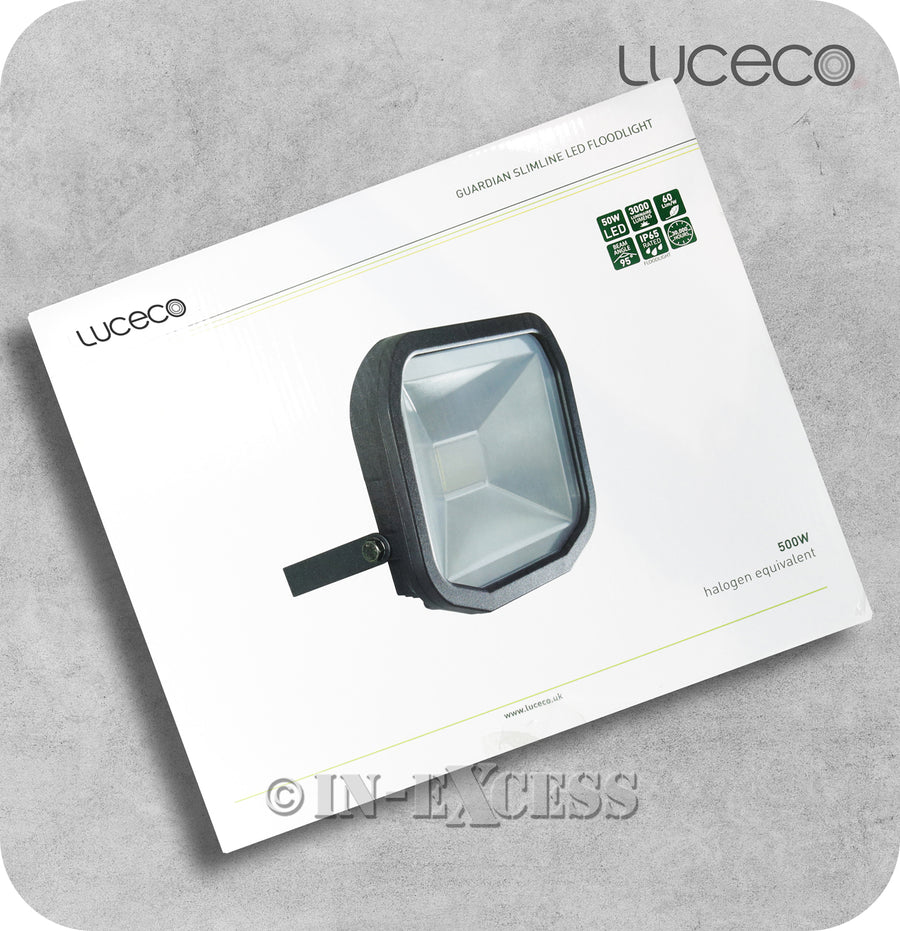 Luceco Guardian Slimline LED Tilting Black Floodlight 3000K Warm White - 50W>500W