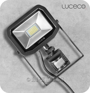 Luceco Guardian Slimline LED Tilting Black Floodlight With PIR Sensor 5000k Neutral White - 22W>300W