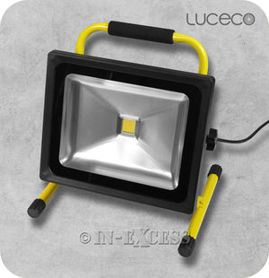 Luceco Garden Worksite Slimline LED Tilting Portable Black Work Light & Floodlight 5000K Neutral White - 30W>300W