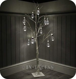 Lumineo Decorative LED Deco White Bulb Tree Warm White Lights - 4 Foot