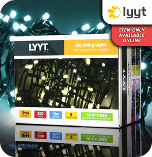 Lyyt 200 LED String Lights with Auto Timer Control - Cyan