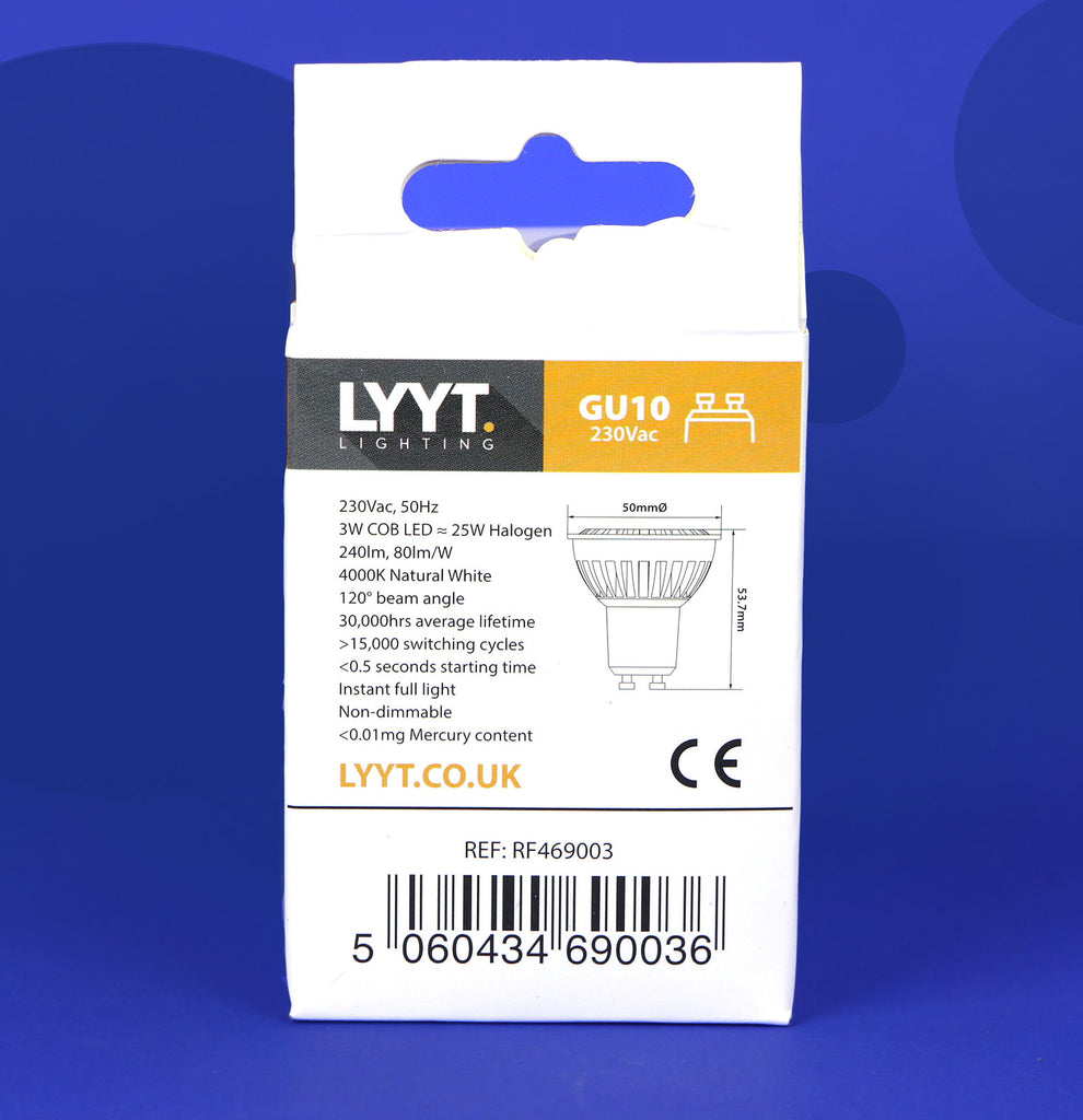 LYYT Lighting GU10 4000k Natural White LED Bulb