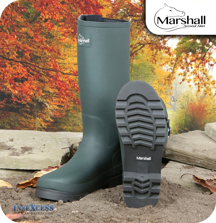 Marshall Unisex Wilton Adjustable Neoprene Lined Wellington Walking Boots - Green Wellies