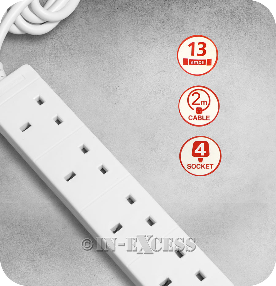Masterplug Basics Power 4 Gang Electrical Extension Lead - 2 Metres