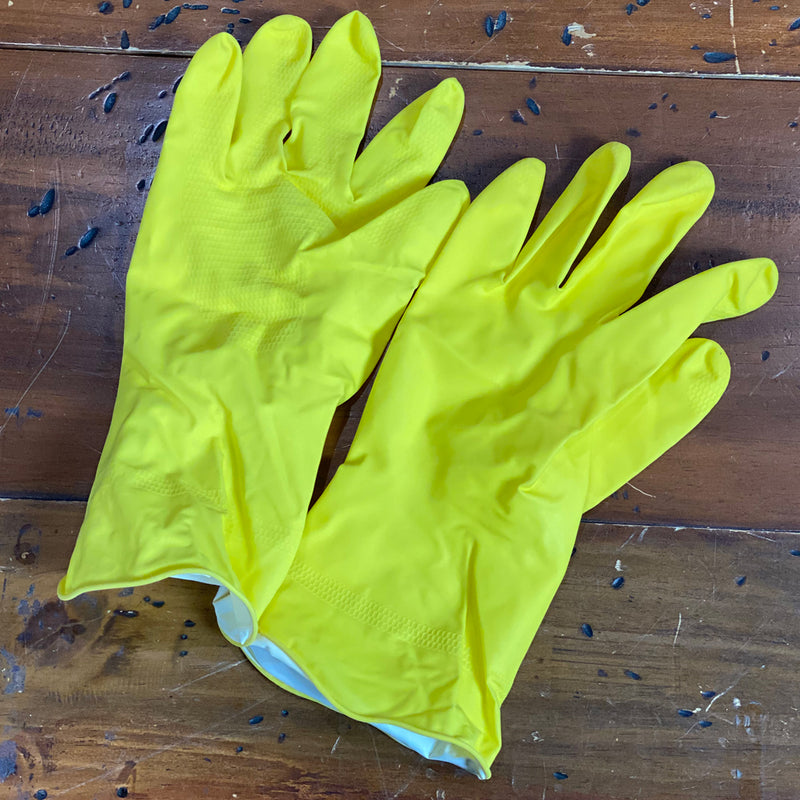Matrix Flock Lined Natural Rubber Gloves - Yellow - Small, Medium, Large