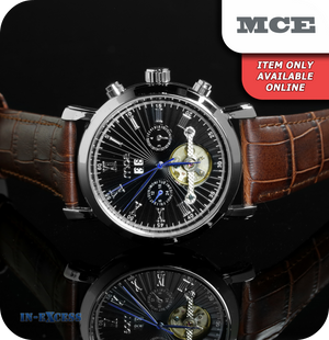 MCE Aristocrat Vintage Mechanical Wrist Watch With Genuine Leather Strap - Carbon Black & Silver