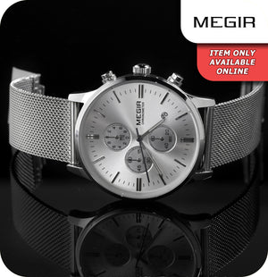 Megir Cambridge Minimalistic Quartz All Silver Mesh Strap - Silver