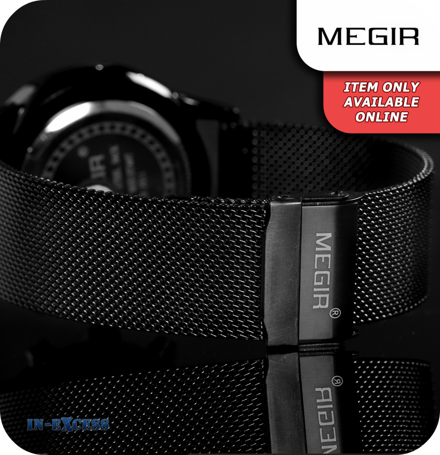 Megir Cambridge Minimalistic Quartz All Black Mesh Strap - Black