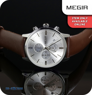 Megir Cambridge Minimalist Quartz Brown Genuine Leather Strap - Silver