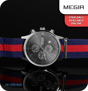 Megir Cambridge Minimalist Quartz BRB Strap - Black & Silver