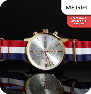Megir Cambridge Minimalist Quartz BWR Strap - Silver & Rose Gold