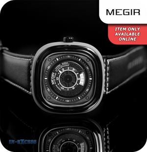 Megir Squaret Quartz Wrist Watch With Genuine Leather Strap - Carbon Black