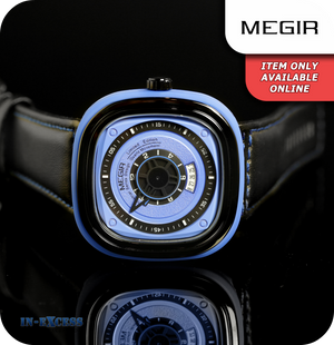 Megir Squaret Quartz Wrist Watch With Genuine Leather Strap - Carbon Black & Blue
