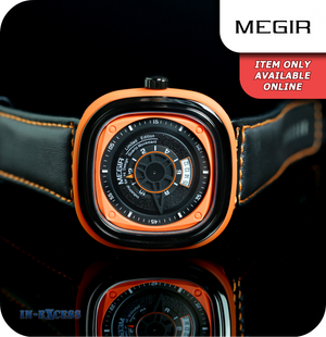 Megir Squaret Quartz Wrist Watch With Genuine Leather Strap - Carbon Black & Orange