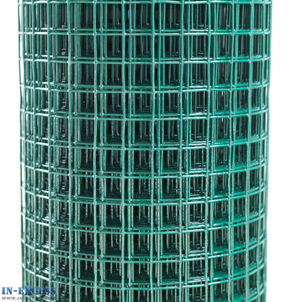 "PVC 18ga Coated Wire Fence Welded Mesh Green 1/2"" x 1/2"" 0.9 x 6m"
