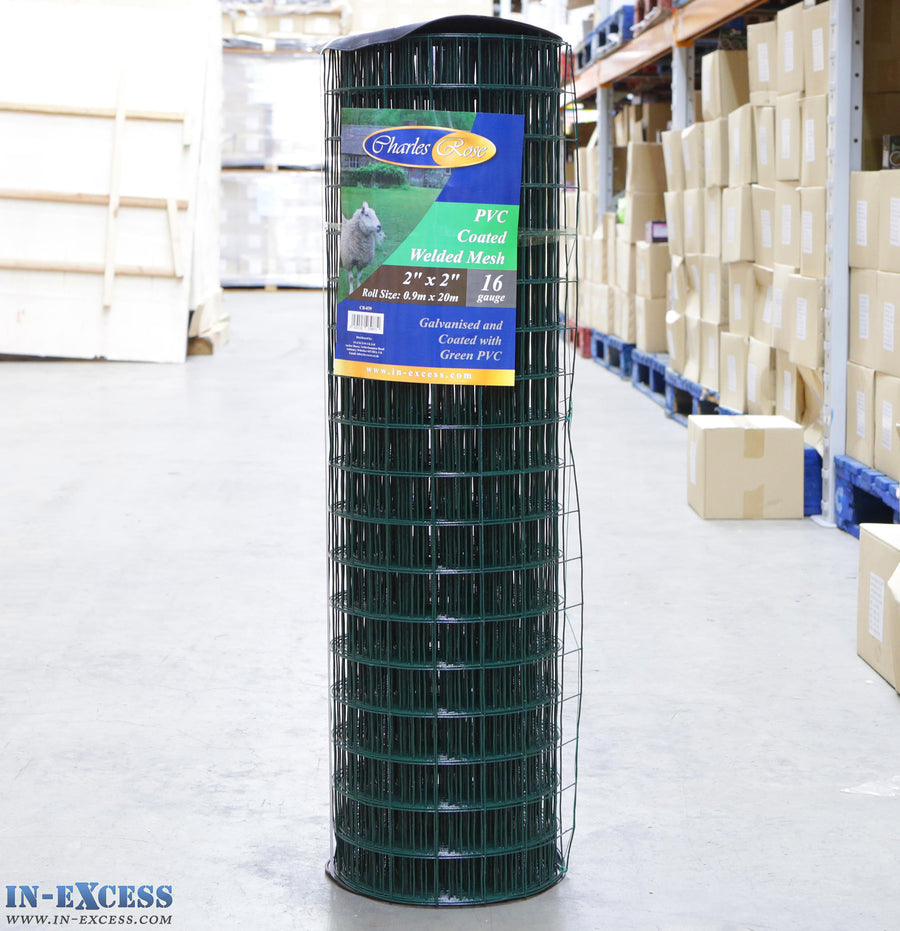 "PVC 16ga Coated Wire Fence Welded Mesh Green 2"" x 2"" 0.9 x 20m"