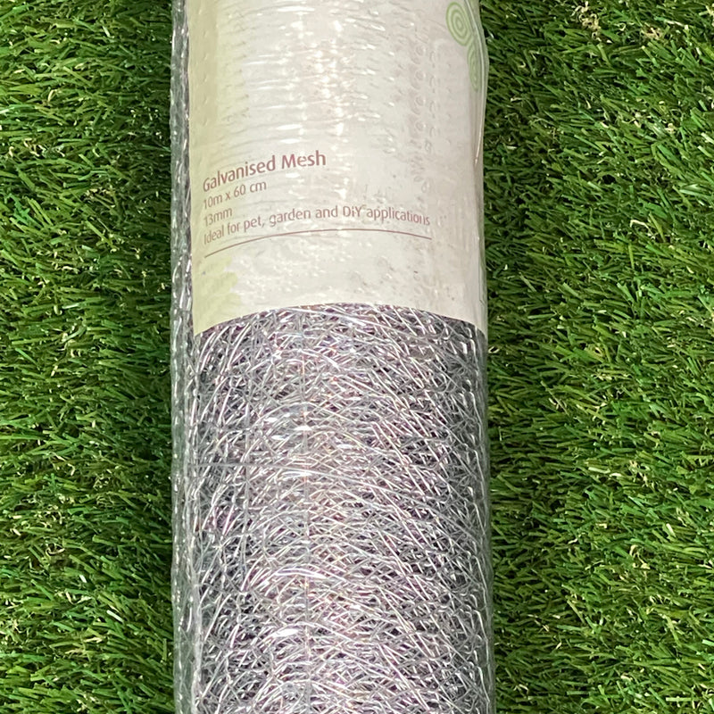 Galvanised Wire Netting Fence 13mm 0.6 x 10m Roll