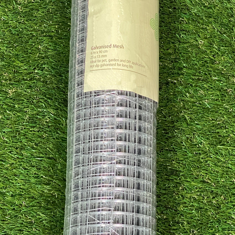 Cage & Aviary Galvanised Wire Fence Welded Mesh 25mm x 13mm 0.9 x 6m Roll