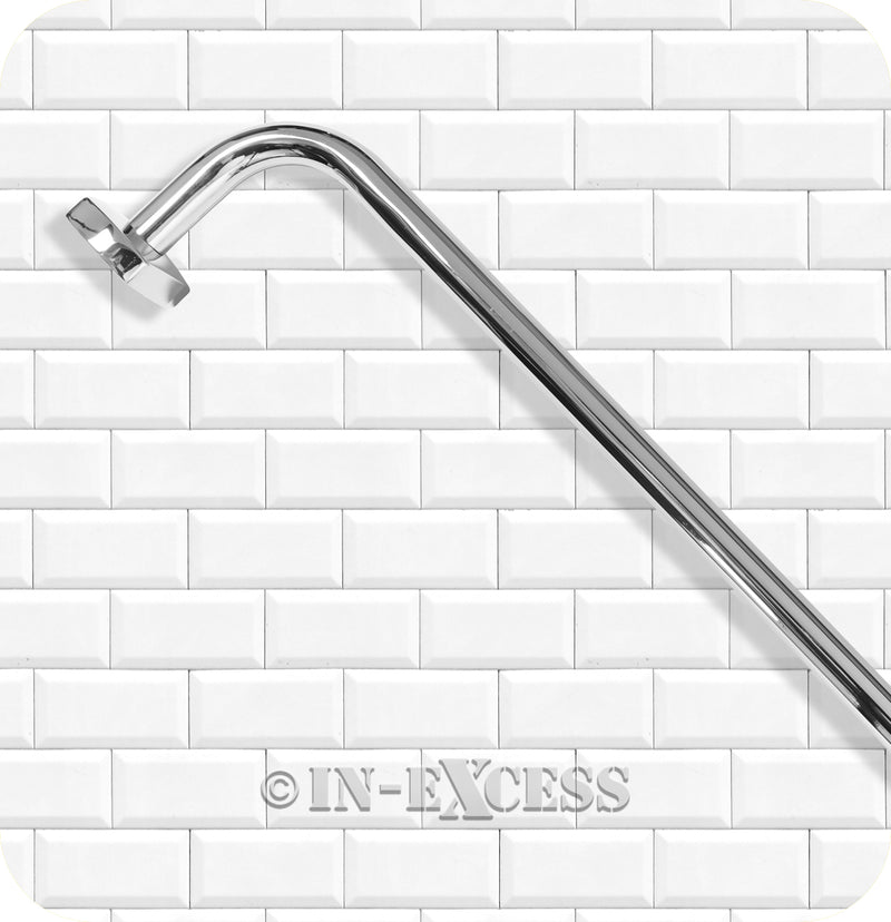 "Metlex Majestic Bathroom Accessories Fixed End Towel Rail 24"" - Chrome Finish"