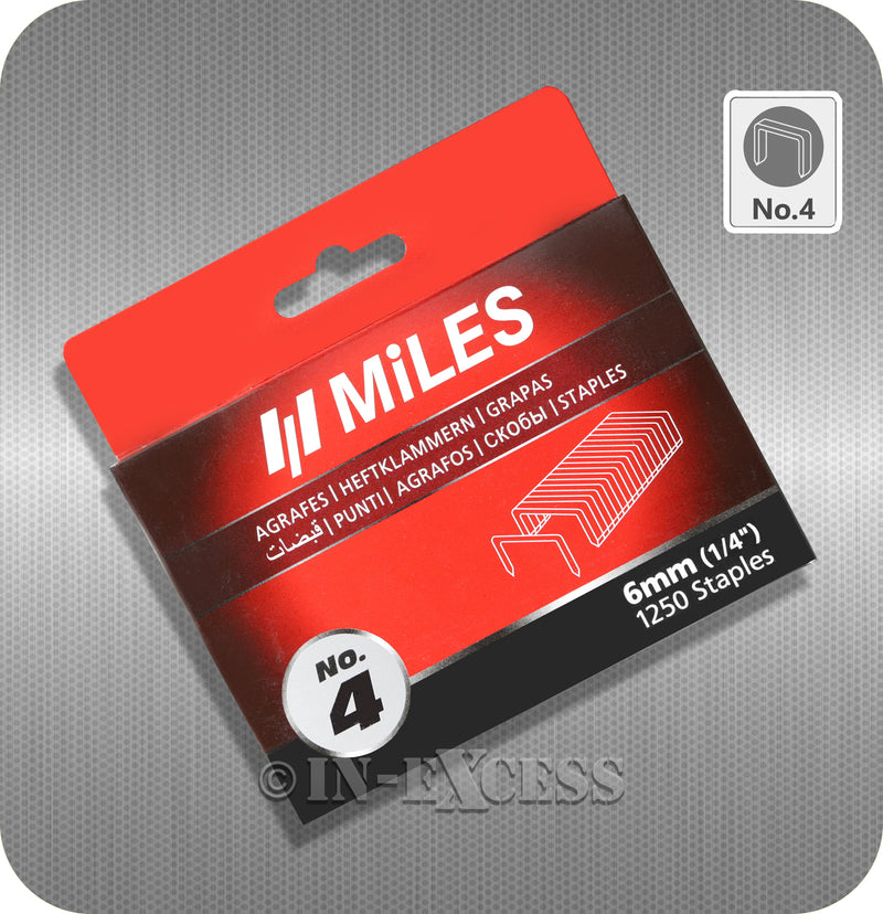 "Miles Staple Gun Refill Staples No.4 - 6mm (1/4"")"
