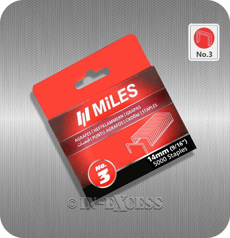 "Miles Staple Gun Refill Staples No.3 - 14mm (9/16"")"