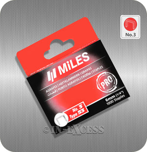 "Miles Staple Gun Refill Staples No.3 - 6mm (1/4"")"