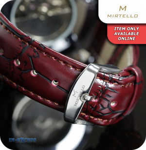 Mirtello Day & Night Moon Phase Mechanical Watch With Synthetic Strap - Silver & Ox Blood Red