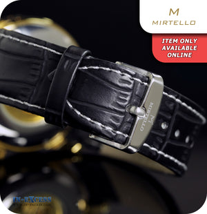 Mirtello Donatello Steampunk Mechanical Wrist Watch With Synthetic Leather Strap - Gold & Black