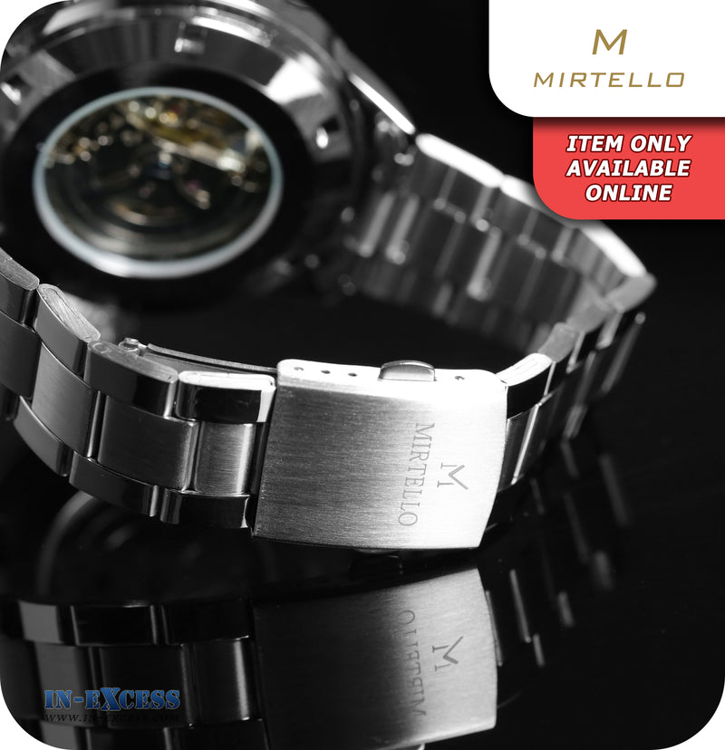 Mirtello Gustavo Self-Wind Mechanical Wrist Watch With Link Strap - Silver & White