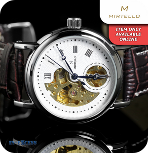 Mirtello Mezzo Volto Steampunk Mechanical Watch With Synthetic Strap - White & Ox Blood Red