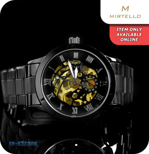 Mirtello Night Skeleton Mechanical Wrist Watch With Link Strap - Carbon Black & Gold
