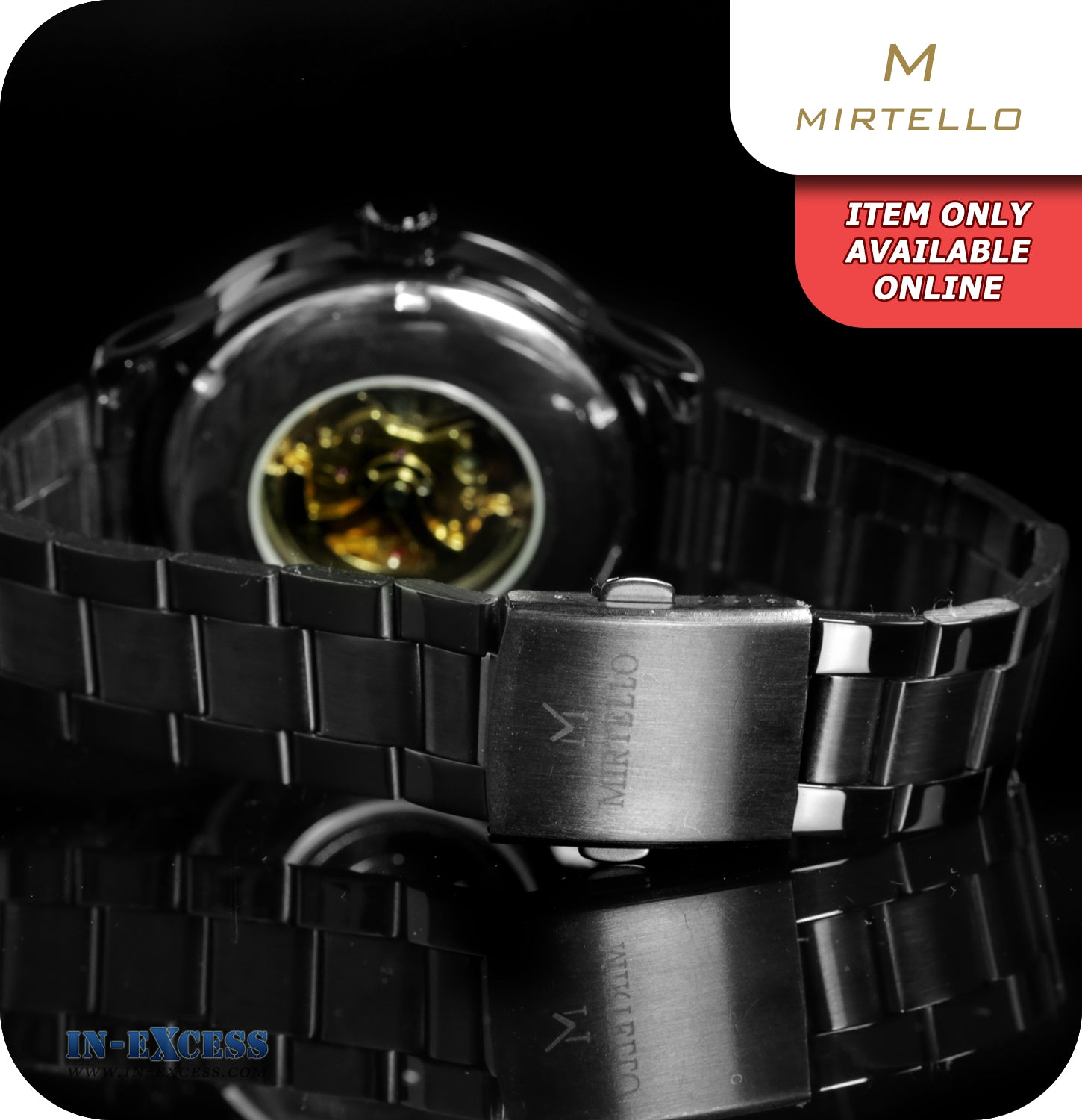 9eed3ccacd19 Mirtello Night Skeleton Mechanical Wrist Watch With Link Strap - Carbon  Black & Gold