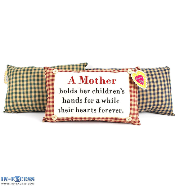"Novelty ""A Mother Holds Her Children's Hands"" Cushion 38 x 23cm Blue, Green or Red"