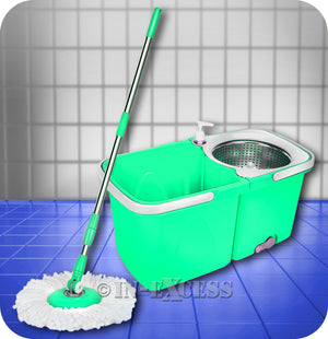 Mrs Beach Compact Dual Spin Dry Mop & Bucket - Mint