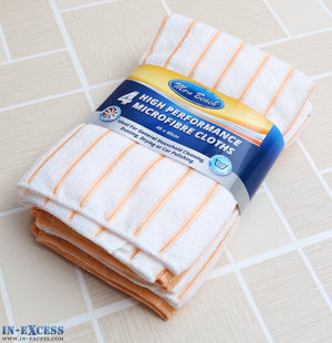 Mrs Beach High Performance Microfibre Cloths Peach Pack of 4
