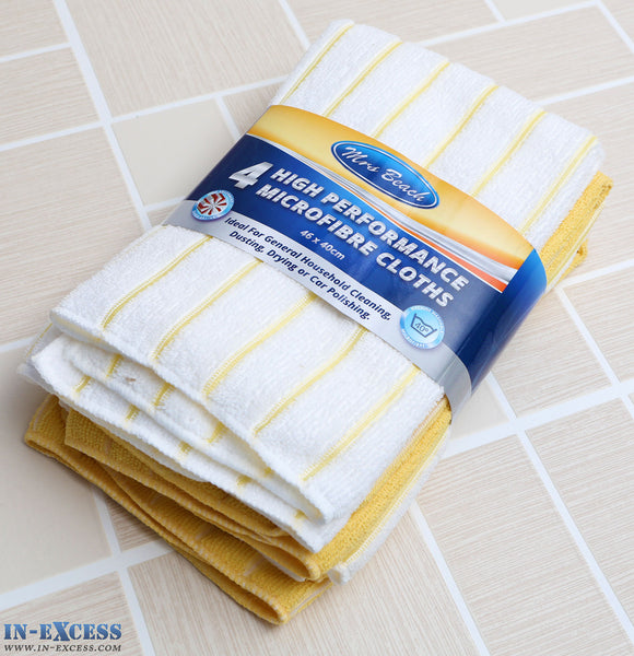 Mrs Beach High Performance Microfibre Cloths Yellow Pack of 4