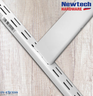 Newtech Hardware Twin Slot White Shelving Upright 42.5cm