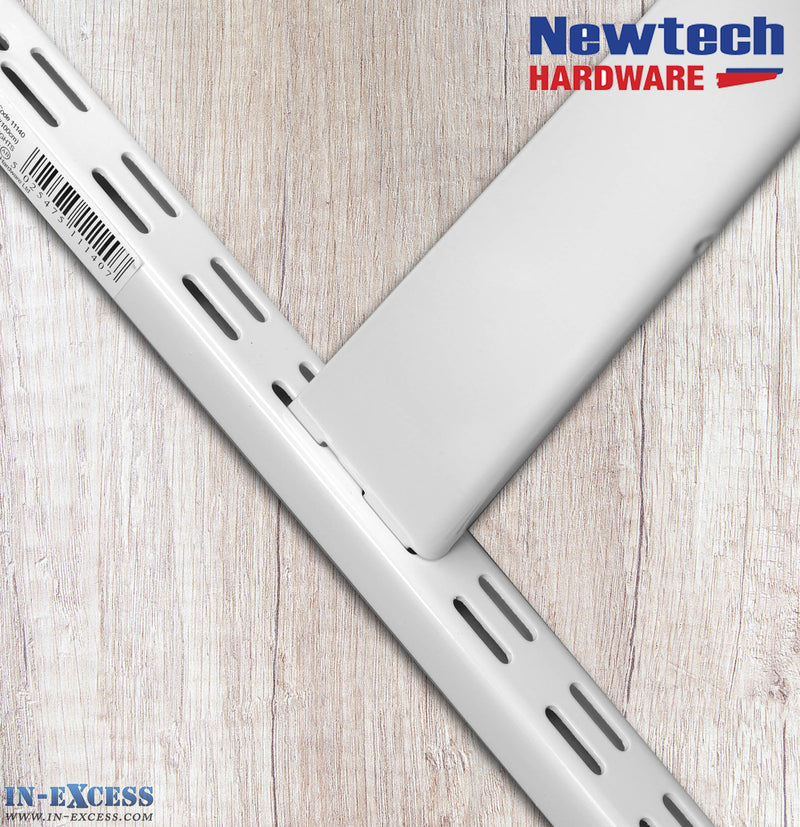 Newtech Hardware Twin Slot White Shelving Upright 100cm
