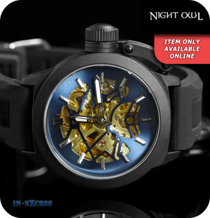 Night Owl Mechanical Mens Wrist Watch With Rubber Strap - Black & Navy (WA025-0003)