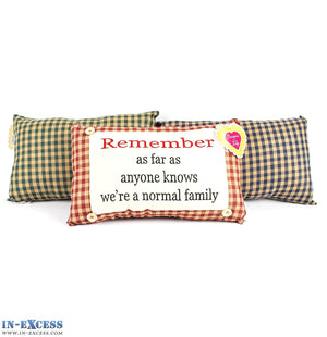 "Novelty ""We're A Normal Family"" Cushion 38 x 23cm Blue, Green or Red"