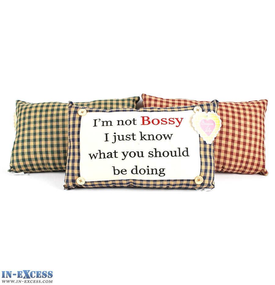 "Novelty ""I'm Not Bossy I Just Know What"" Cushion 38 x 23cm Blue, Green or Red"