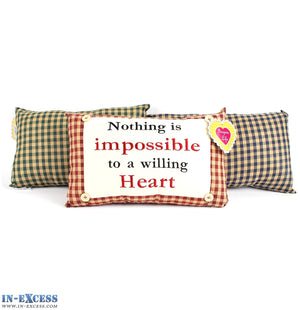 "Novelty ""Nothing Is Impossible Willing Heart"" Cushion 38 x 23cm Blue, Green or Red"