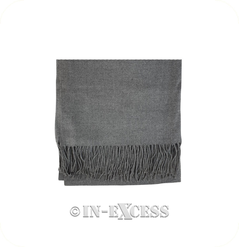 Olivier Pascal Unisex Super Soft Large Winter Wrap Cashmere Mix Scarves - Mid Grey Marl