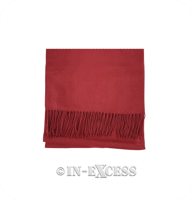Olivier Pascal Unisex Super Soft Large Winter Wrap Cashmere Mix Scarves - Deep Red