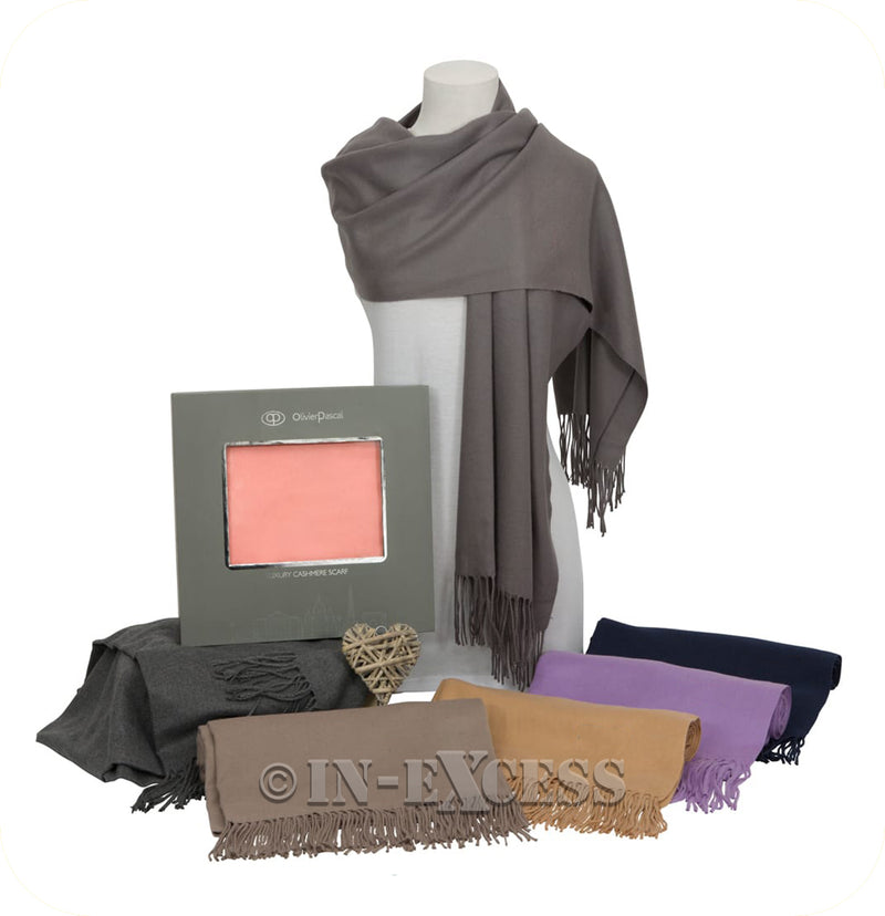 Olivier Pascal Unisex Super Soft Large Winter Wrap Cashmere Mix Scarves - Taupe