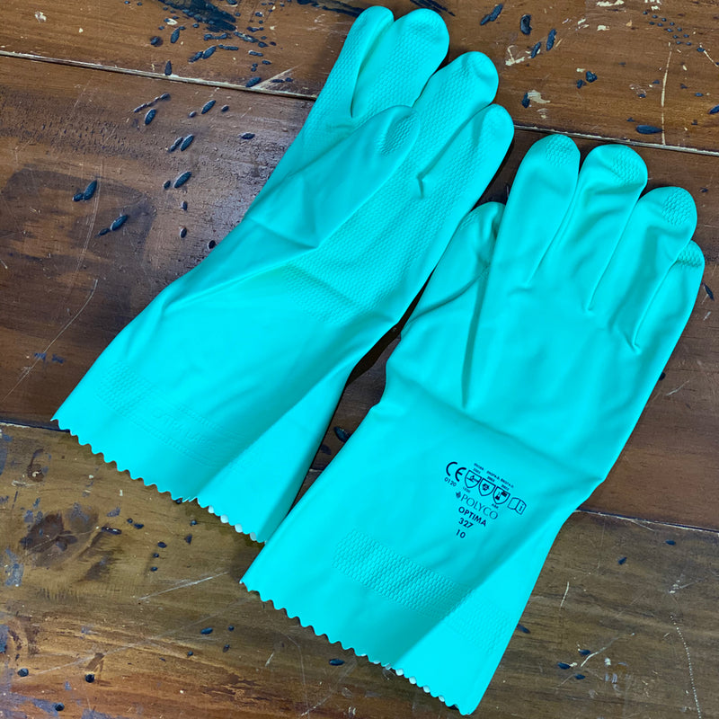 Polyco Optima Mediumweight Rubber Chemical Resistant Glove Green