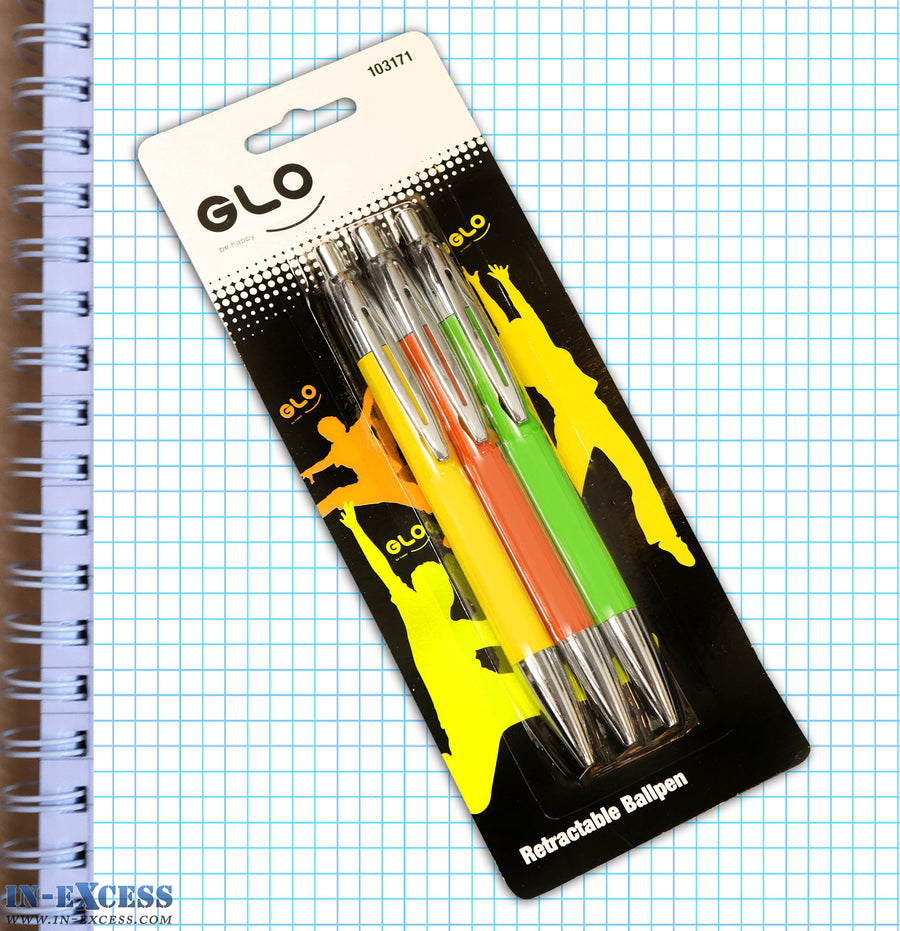Pack of 3 Glo Retractable Ballpens Black Ink